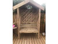 Handmade garden arbour bench