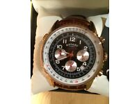 ROTARY dolphin chronospeed waterproof watch brown strap white & gold detail