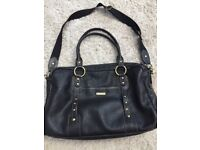 Designer Storksak Black Leather Changing Bag