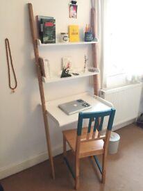 Ladder Desk (Bamboo & MDF) + wooden chair