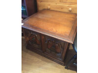Coffee table / Storage cabinet , with carved doors and original handles . Free Local delivery