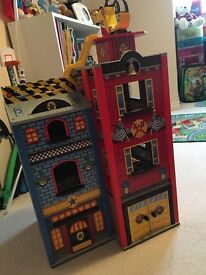 Kids Toy Wooden Fire Station