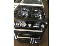 Black Hotpoint 60cm gas cooker grill & double ovens good condition with guarantee