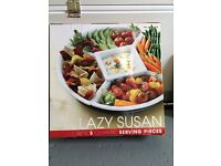 Lazy Susan - 5 white ceramic serving dishes, great for parties and Xmas, boxed as new