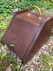 Antique Oak Coal Box with Brass Handle