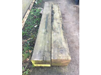 4 x Garden sleepers, 240cm x 12 cm x 25.5 cm. £60 the lot. Collect only.