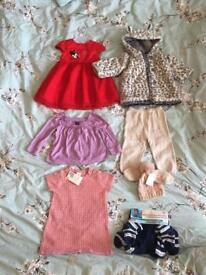 6-12M Baby Girls clothes bundle 7 items (4 are brand new).