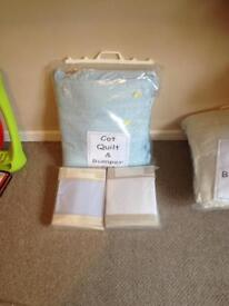 Cot quilt & bumper sets with sheets new