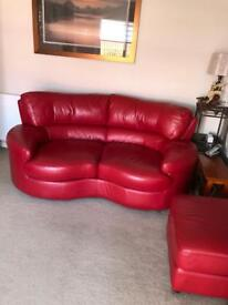 £350 FOR QUICK SALE Leather 3 + 2 Seater and Storage Footstool