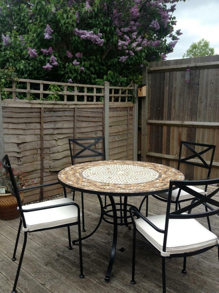 Garden furniture set mosaic patio table and 4 chairs with cushions and protective cover