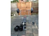 Adjustable incline weight bench with bar weights and dumbells