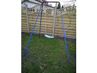 Child's garden swing - metal frame, TP seat with nylon ropes