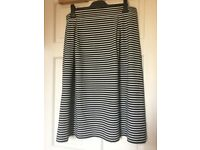 Brand New With Tags Golddigga Black & White Striped Midi Skirt - Size 16 (XL)