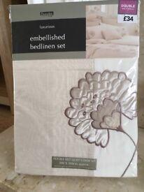 New Dunelm duvet set Double bed size natural beige