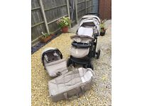 Graco pushchair, car seat and carry cot