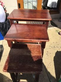 Set of threee wooden tables