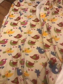 Pair of Child's Colourful Bird Print Cotton curtains 32 inches wide x 90 long