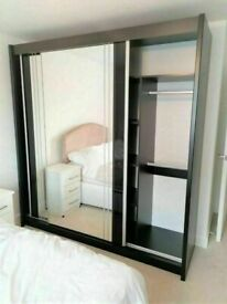 💥💯MEGA SALES ON 2/3 DOORS SLIDING WARDROBE WITH FULL MIRRORS ALL SHELVES & RAILS INCLUDED