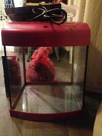 Pink Aqua One Fish Tank with pump and accessories