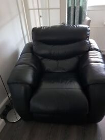 Black leather reclining corner style sofa and chair
