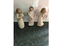 3 small willow tree ornaments