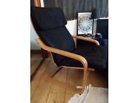 Black Lean Back Chair (Ikea POÄNG type)