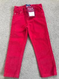 Joules new boys red corduroy trousers age 4yrs