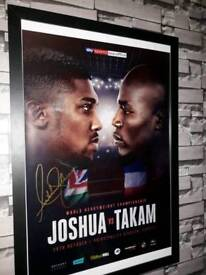 Anthony Joshua hand signed fight poster