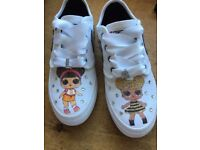 Girls customised converse trainers