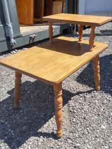 Oakville RETRO SIDE TABLE 2 Tiers Wood Vintage 1960s Cottage Country Rustic Decor Midcentury MCM