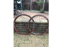 Shimano 700c road wheel with new tyres