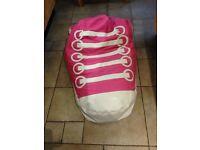 Bean bag pink converse boot shape