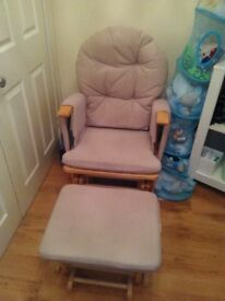 Nursing glider chair and footstool