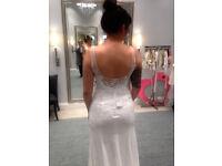 BRAND NEW WITH TAGS Lace Sheath Wedding Dress Size 8 Ivory David's Bridal