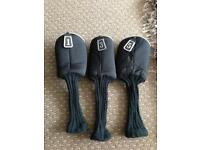 3 Black Padded Golf Club Covers