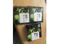 New and unopened HP 301 XL ink cartridges