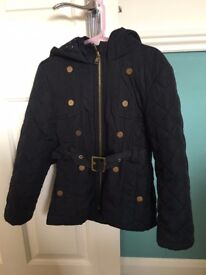 Girls Navy Quilted Hooded Anorak - Perfect for School, Age 5-6