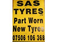 PART WORN AND NEW TYRES SUPPLIED ANF FITTED ALL SIZES AND BRANDS
