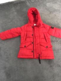 Boys age 5 stone island down feather jacket & hat