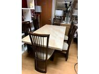 6ft cream marble effect dining table and chairs