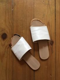 White flat leather mules size 3