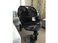 Out'n'about double nipper pushchair in all black hardly used