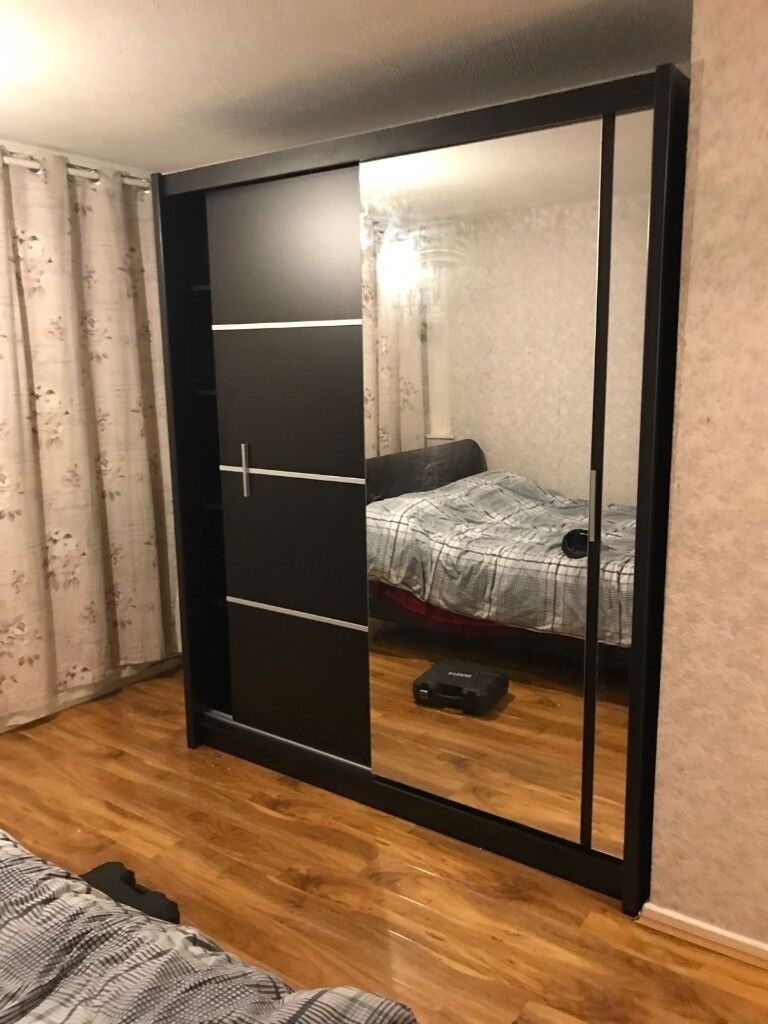 203cm Black Matte Wardrobe With Long Mirror On One Side