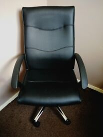 Black leather office chair high back swivel on wheels