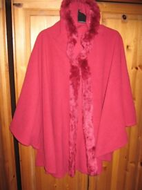 DARK RED COSY CAPE STYLE JACKET WITH HOOD - ONE SIZE