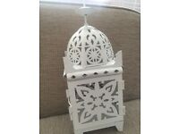 Cream coloured metal Morrocan style tealight/candle holder,looks fab in any room incl conservatory!