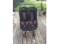 Baby jogger buggy. Double city mini easy fold with rain coat