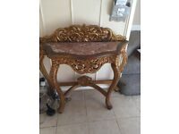 Beautiful Gold Console Table with Onyx/ Marble inlay 38 inches wide 31 inches high £50