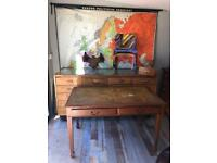 vintage leather topped wood wooden traditional desk mancave table