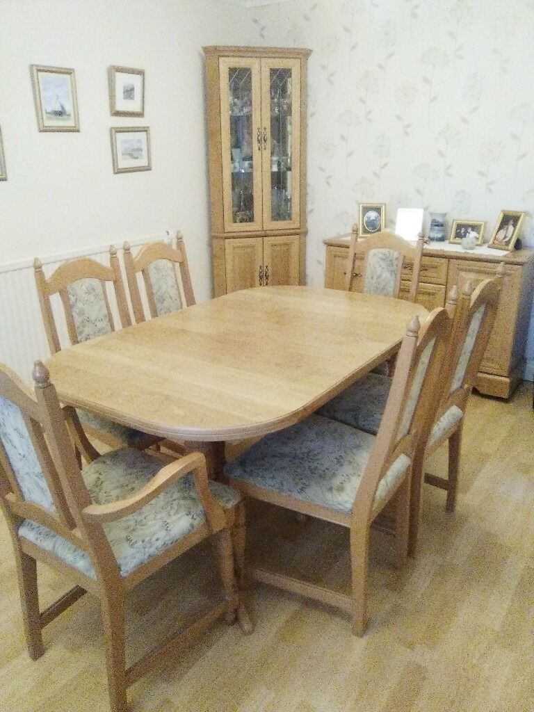 Dining table,chairs,sideboard,corner unit and music unit